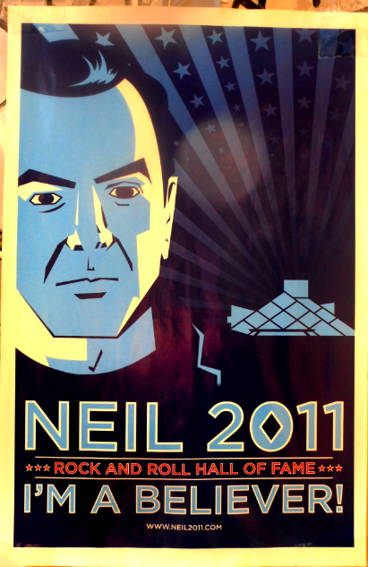 Neil Diamond poster supporting his admission to the Rock n' Roll Hall of Fame