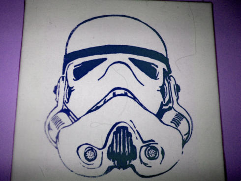 Blue Storm Trooper with a purple background.