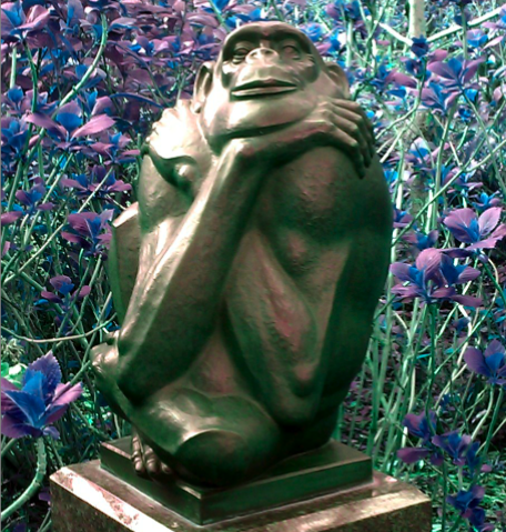 Wise bronze monkey at Brooke Green Gardens.