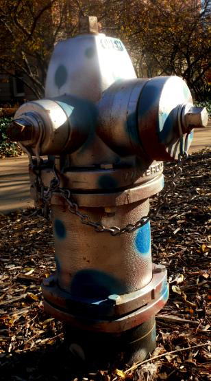 Fire hydrant with silver paint and blue painted spots.