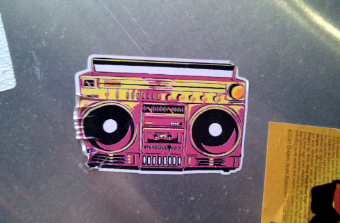 Pink, yellow boombox from Chicago, Illinois.